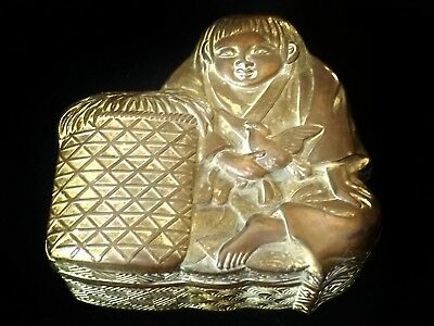 Unusual Japanese Antimony lidded box modelled as a boy with a bird