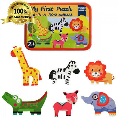 KUNEN Puzzle Games 6-In-A-Box! My First Animal Set Wooden Jigsaw Puzzles For...