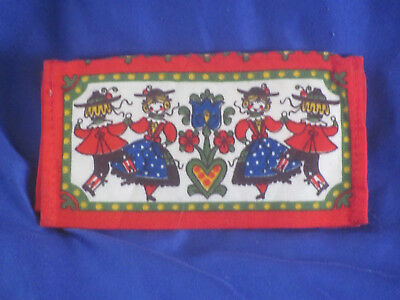 Wallet for paper handkerchiefs tissues make-up etc Folk Art printed cloth