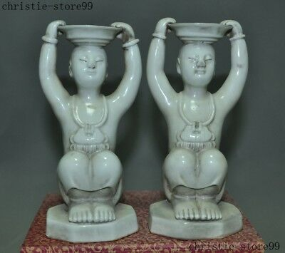 Old China Dehua porcelain  Glaze Carved Children Candlestick Candle Holder pair