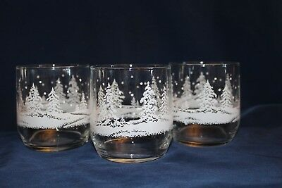 Set of 3 Winter Snowy Scene Christmas Holiday 12 oz Glasses