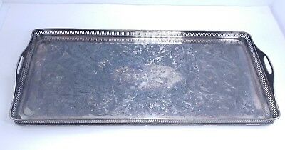Vintage WILCOX  Silverplate Footed Rectangular Pierced Gallery Serving Tray