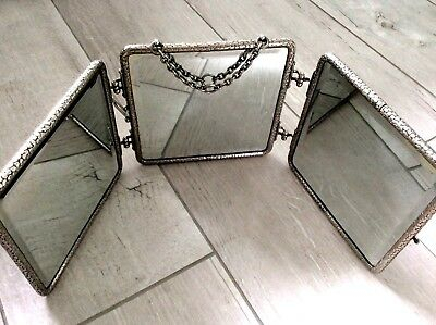 Antique Victorian Tri-Folding Triptych Travel Vanity barber Mirror chrome