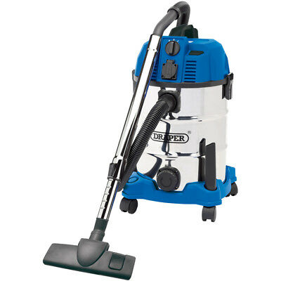 30L Wet & Dry Vacuum Cleaner with Stainless Steel Tank & Integrated 230V
