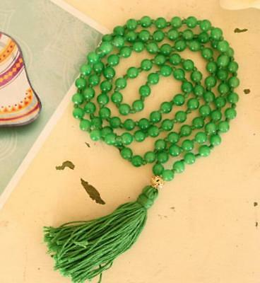 8mm Natural Green Glass Tassels 108 Beads Necklace yoga Mala meditation