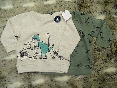 NEXT boys ivory/green DINOSAURS jumpers 6-9 months* combine post BRAND NEW C8-12