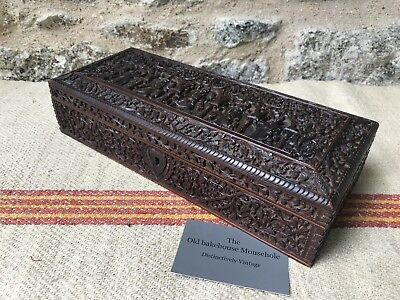 A Fine Carved Anglo Indian Sandalwood Box