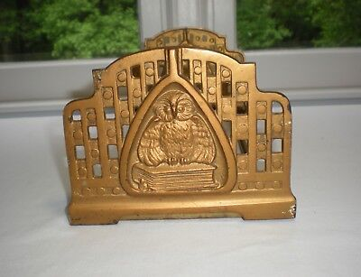 Vintage Brass Owl Bookend/Book Rack/#9821/Adjustable Folding/Slider/Expandable