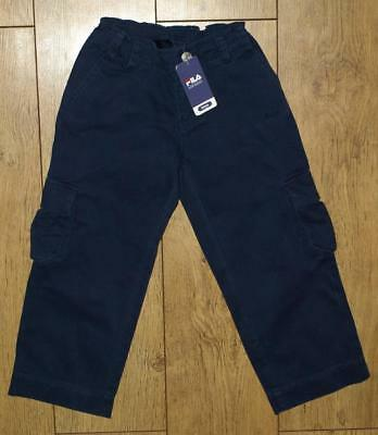 New Authentic Boy's Fila Cargo Combat Jeans Trousers Age 4 Years 104cm Navy Blue