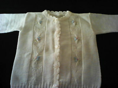 Vintage baby sweater/girls white with pink & blue embroidered flowers/long sleev