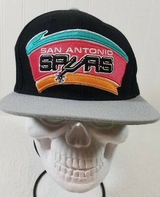 buy online 0252e 3958c San Antonio Spurs NBA Mitchell   Ness Snapback Hat XL Throw Back Logo 2Tone  Cap