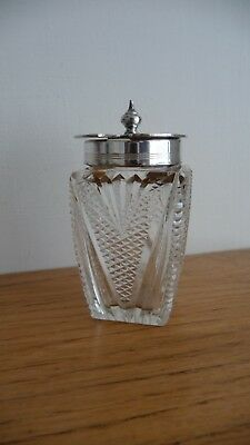 Walker & Hall Cut Lead Crystal Glass  Mustard Pot With Silver Plated Lid