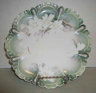"""RS Prussia Plate White Dogwood Light Green and Gold Trim Scalloped Edge 8 1/2"""""""