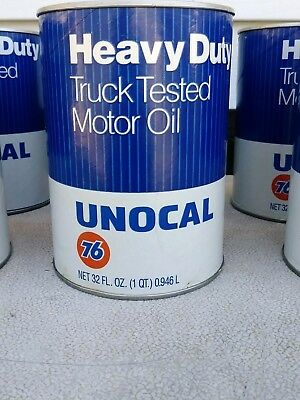 Vintage Union 76 Unocal Heavy Duty Oil Can Display Advertising Metal Paper 1 Qt