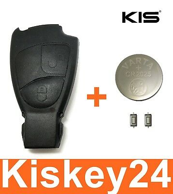 2tasten SPARE KEY HOUSING FOR MERCEDES BENZ + Battery 2x PUSH BUTTON REPAIR