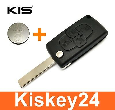 4Tasten Spare Folding Key Housing with Blank for Peugeot 1007 807 + Battery
