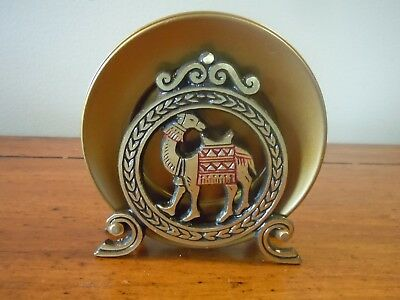 Metal Coaster Set~Camel Design Holder W/ Six Coasters~Israel
