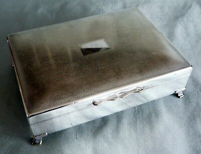 """ARISTOCRAT WOODEN LINED LARGE SILVER PLATED CIGARETTE BOX 6.5"""" x 5"""""""