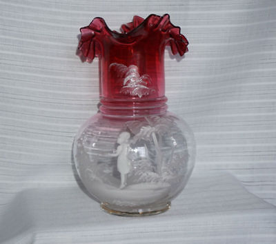 Vintage Mary Gregory Cranberry and Clear Ruffled Pitcher