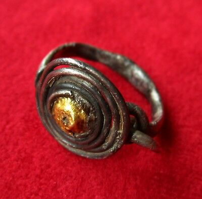 > COILED RING < SILVER / GOLD . Ancient THRACIAN / CELTIC RING - OUTSTANDING
