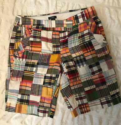 J Crew Womens Shorts Bermuda Size 0 Plaid Patchwork Madras City Fit Long Shorts