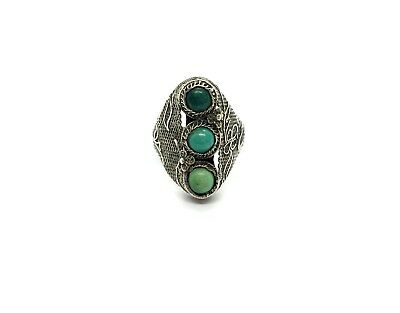 Antique Sterling Silver Chinese 3 x Green Turquoise Stone Filigree Ring Size – K
