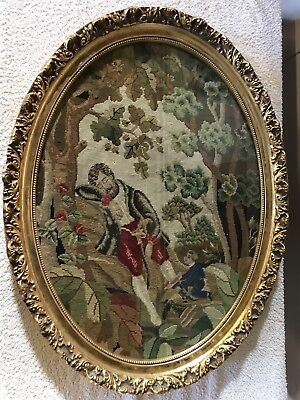 Vintage French Tapestry in Oval Frame