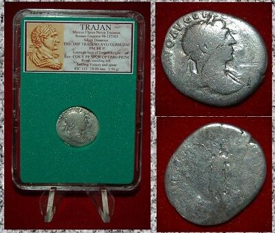 Ancient Roman Empire Coin TRAJAN Roma On Reverse Silver Denarius