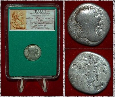 Ancient Roman Empire Coin TRAJAN Roma With Victory On Reverse Silver Denarius