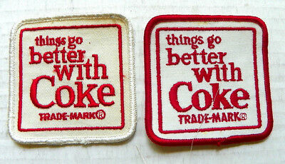 "(LOT OF 2) 1960's ""THINGS GO BETTER WITH COKE"" DRIVER PATCHES ~ RED & WHITE RIM"