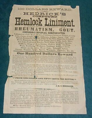 RARE 1800s Paper Broadside HEDRICH HEMLOCK LIMINENT Floyd, Louisiana $100 REWARD