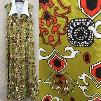TRUE VINTAGE 70's LEROSE OLIVE GREEN RETRO PRINT MAXI DRESS PSYCHEDELIC 14 16