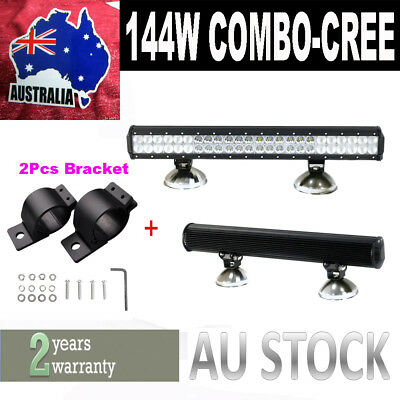 23INCH 144W LED WORK LIGHT BAR FLOOD SPOT OFFROAD LAMP + 2 X Bracket