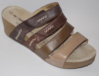 ea3d79772754dd Romika 39 (US 8 8.5) Wedge Sandals Comfort Strap Slip On Shoes Brown Tan