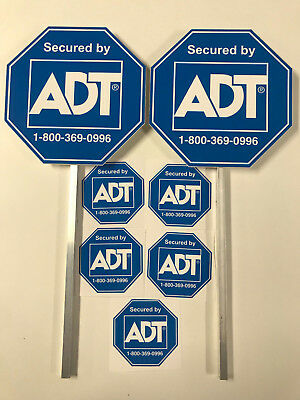 New Adt Security (2) Yard Signs And 5 Stickers Waterproof // Free Shippping //