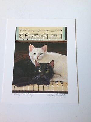 "Drew Strouble ""Ebony and Ivory"" titled Print with Black & White Cats music notes"