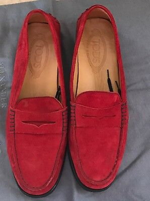 129c5cb3afad1 RED SUEDE JP Tods penny loafer 9 - $24.99 | PicClick