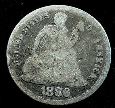 1886 10 Cent Liberty Seated Dime US Silver Coin *