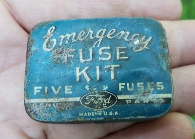 Vintage Ford Fuse Kit Antique Tin Box Can Tool Automobile Part Original Rare
