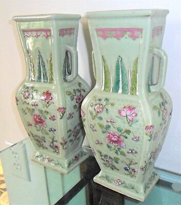 PAIR of 19thC CHINESE PORCELAIN CELADON FAMILLE ROSE VASE'S Qinq qianlong MARKED