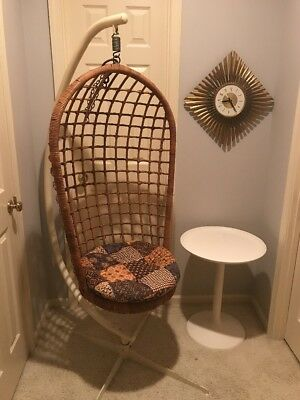 Mid Century Hanging Rattan Basket Chair with Stand--- May Ship