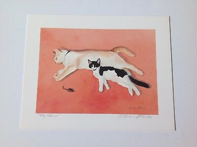 Drew Strouble art print, MY HERO, 2 cats and a mouse, Catmandrew, cat artist