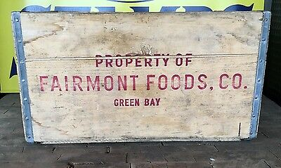 Vintage Fairmont Foods Co. Green Bay WI Wooden Crate - Excellent Condition