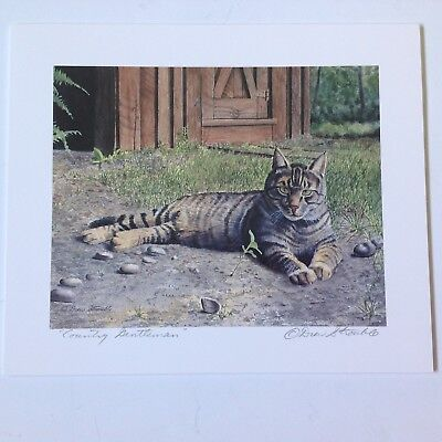 Drew Strouble cat print, COUNTRY GENTLEMAN, tabby cat, Catmandrew, 7 x 6 inches