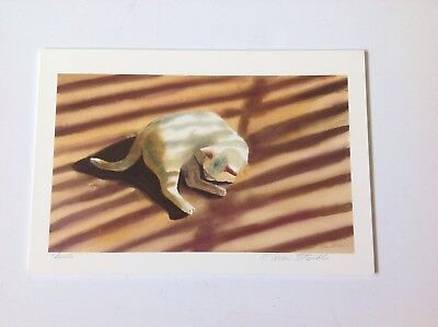 Drew Strouble cat print, SIESTA, white cat, Catmandrew artist, cat artist