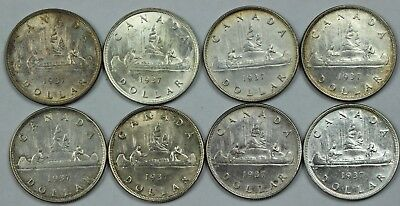 8x 1937 Canadian 80% Silver Dollar Lot Roll Canada $1 Includes Several Unc P3R