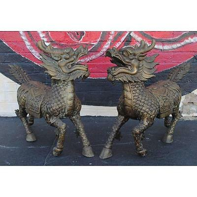 "Pair of Large Chinese Bronze Foo Dog Dragon Sculptures 33.5"" Tall"