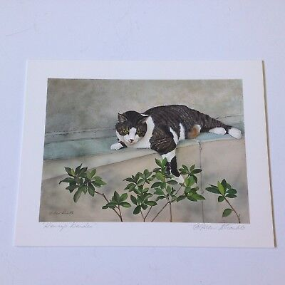 Drew Strouble cat art print, HENRY'S GARDEN, Catmandrew artist, 8.5 x 6.5