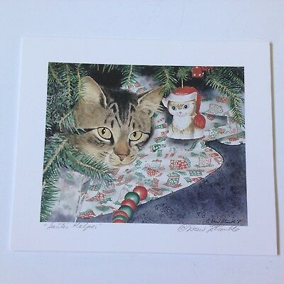 Drew Strouble cat art print, SANTA'S HELPER, Catmandrew, 7 x 6
