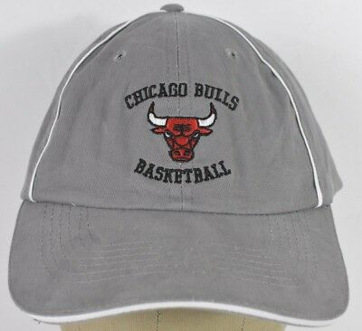 c1a19294cf5f8 Gray Chicago Bulls NBA Team Logo Embroidered Baseball Hat Cap Adjustable